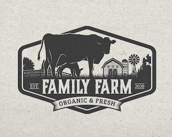 Business Logo - Business Branding - Green - Cow - Ox - Emblem Logo - Badge - Eco - Farm Products Logo - Organic Logo