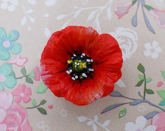 2516a66cf Red POPPY BROOCH Floral Wedding Corsage Commemorative Memorial Lapel Flower  Boutonniere Remembrance Pin Papaver Flower Jewellery HandPainted