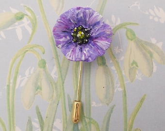 PURPLE POPPY PIN Commemorative Memorial War Animals Lapel Flower Remembrance of Animals of War Brooch Papaver Flower Jewellery Hand Painted