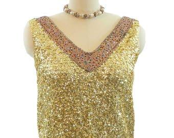 1950s Gold Sequin Beaded Sweater Sleeveless Top Wool Rockabilly Pinup Hong Kong size S/8
