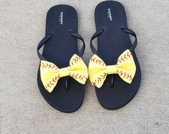 e51f1e26ffd4e3 Softball Bow Flip Flops ~ Flip Flops INCLUDED! Adult and Child Sizes  Available