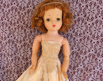 """Lovely Vintage Rayon and Lace brocade strapless gown for your 19""""-20"""" fashion dolls like Miss MA cissy and friends ! Muted Champagne Pretty"""