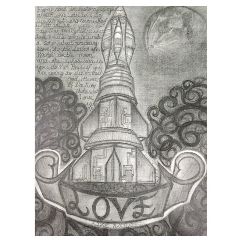 Amor Como Cohetes A Mano Alzada Dibujo Lápiz Art Impresión Firmada Regalo