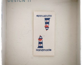 Cotton labels for handmade items/nautical/labels for knitting/crochet/made by hand labels/labels