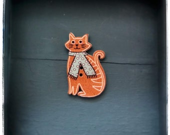 Wooden  cat shaped buttons/sewing/knitting/crochet/craft projects