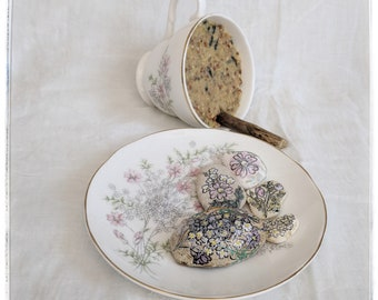 Bird feeder and bee bath set/vintage teacup birdfeeder/vintage saucer bee bath/garden set for birds and bees