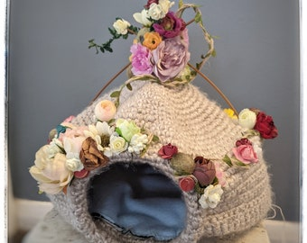 Cat cave/crocheted cat cave/cat bed/fairy cat bed/gift for cats/upcycled cat cave