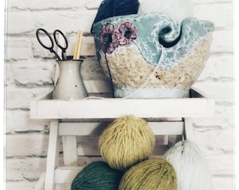 Unique Yarn bowl/Knitting/Crochet/Gift for Knitters/Knitting organiser/Paper Mache Bowl/Recycled Eco Friendly Bowl