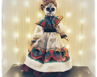 Ana Sofia-Dia de los Muertos-Day of the Dead upcycled Vintage Leonardo 81 collectible porcelain doll