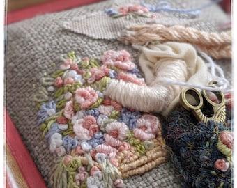 Mixed media/embroidery/textile art/framed art/flower picking girl/roses