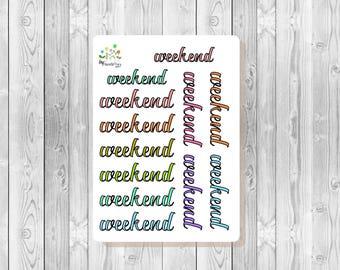 S132 - 12 Weekend Script Planner Stickers