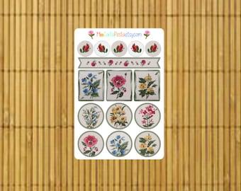 S189 - 15 Vintage Floral Planner Stickers