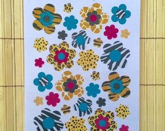 S010 - 30 Animal Print Flower Planner Stickers