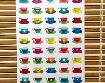 S168 - 50 Tea Cup Planner Stickers