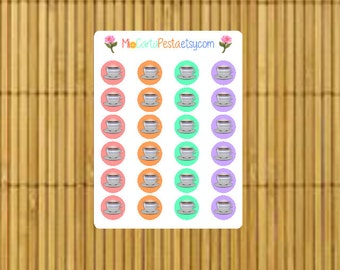 M012 - 24 Coffee Cup StickiPocket Mini Sheet Planner Stickers