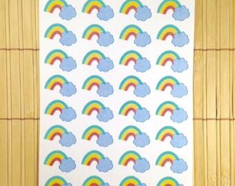 S119 -  32 Rainbow Cloud Planner Stickers