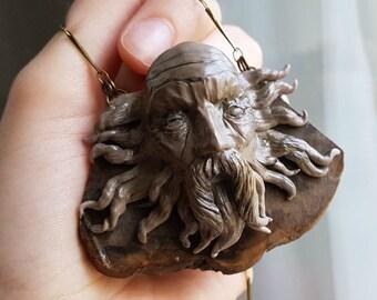 Salazar Slytherin Neckalce - one of a kind handsculpted Slytherin necklace, Slytherin House inspired, Chamber of Secrets art, Harry Potter