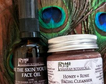 Facial Cleanser & Facial Serum Gift Set | Honey and Rose Cleanser | Essential Oil Serum | Skin Food |