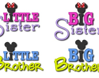 Little Sister, Big sister, Little brother, Big brother, 4 embroidery designs