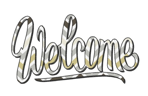 welcome bean stich outline design instant welcome banner etsy