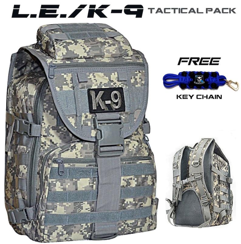 CUSTOM K-9 Police Military L E  Tactical Backpack On-Off Duty Bag Range Bag  w/ FREE K9 Unit Key Chain - 2* TBL Canine Law Enforcement