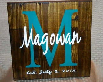 Handpainted Family & Est. Date Sign, Custom Wood Sign, Gift