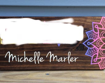 Custom painted consultant clothing boutique sign with mandala design