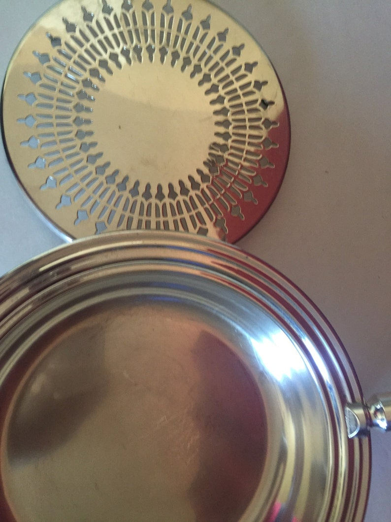 Vintage Silver Plate  Shafing Dish with Wooden Handle  Tray  Frying Pan  Silver Pie Pan  Pans with Tray