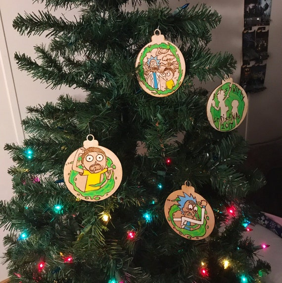 Rick And Morty Christmas.Rick Morty Christmas Ornaments Single Or Set