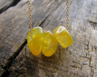 Agate Necklace 925 Sterling Silver or 14K Gold Filled, Yellow Agate Necklace, Gemstone Dainty Necklace, Stone Nugget Necklace, Agate Jewelry