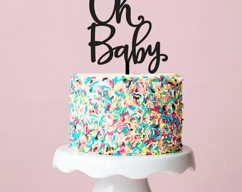 Oh Baby Cake Topper, Silver Baby Shower Cake Topper, Gender Neutral Shower, Gender Reveal, Cake Topper, 059
