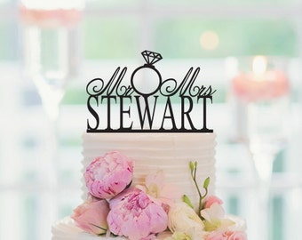 Wedding Cake Topper Personalized Last Name, Wedding Cake Decor, Custom Last Name Topper, Anniversary Cake Topper, For Wedding, 009