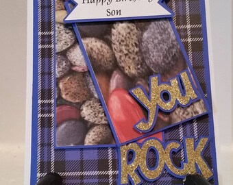 Unique, Handmade Happy Birthday Son, You Rock Greeting Card