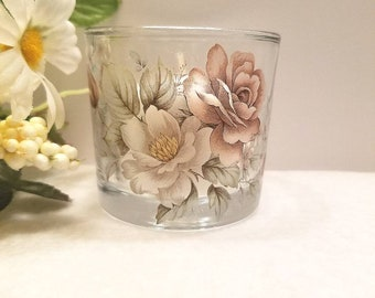 Flowered Round Glass Votive Candle Holder with Candle