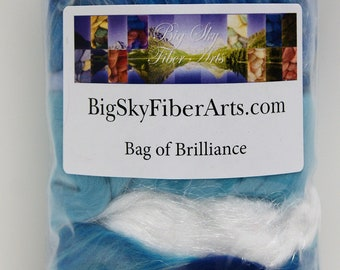 Rippling River Bag of Brilliance 4 Ounces Extra fine merino wool roving, merino tussah, tussah, locks,  nylon roving for felting, spinning