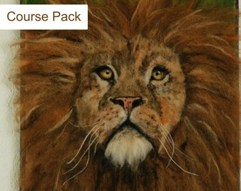 Lessons from a Lion Course Pack, wool painting, 3d felting