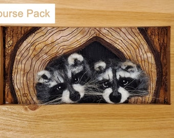 Double Trouble - Mixed Media Raccoon Course Pack, wool painting, 3d felting
