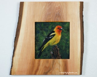 Come Fly With Me Companion Course Kit, needle felting, bird, Western Tanager, wool painting, 2d felting
