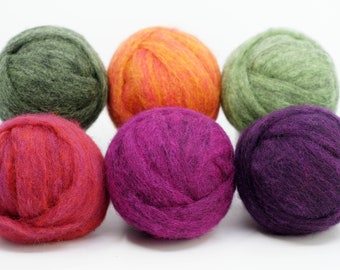 Carded Corriedale Collection - Spring Colors, Six Colors, Six Ounces for Needle Felting