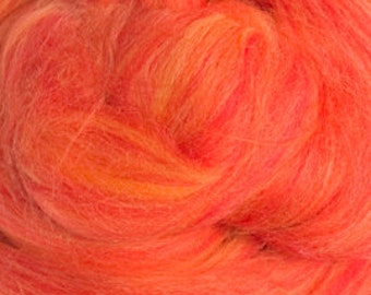 Two Ounces Extra Merino Wool Roving Sugar Candy, Color Sicilian Oranges