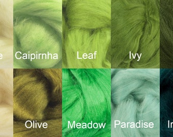 Greens Tussah Silk Top One Ounce Color  For Felting or Spinning
