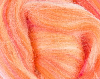 Two Ounces Extra Fine Merino Wool Roving Sugar Candy, Color Sunset for Felting and Spinning