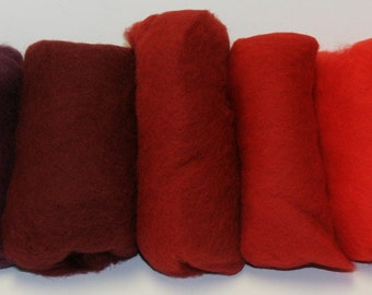 Carded Merino Collection Batting for Needle and Wet Felting 100 Grams (Red Poppy)