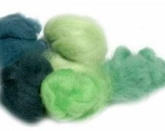 Extra Fine Merino 19 Micron Spring Green Palette for Felting