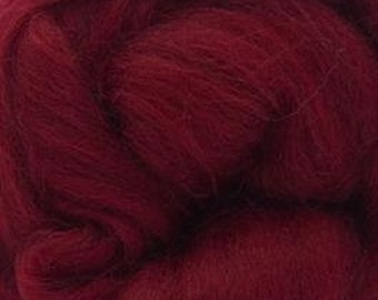 Two Ounces Extra Fine Merino Wool Roving, Color Ruby
