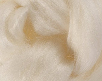 Two Ounces Natural White Merino Tussah Silk Combed Top Wool One Ounce for Felting and Spinning