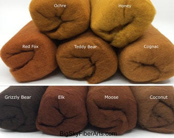 Brown Shades Carded Merino Batting for Needle and Wet Felting 50 Grams