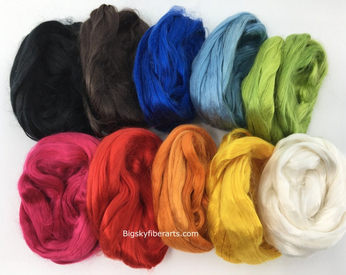 Featured listing image: Mulberry Silk Collection Rainbow 50 Grams (nearly 2 Ounces) - silk spinning fiber, silk for spinning, felting silk, luxury silk fiber