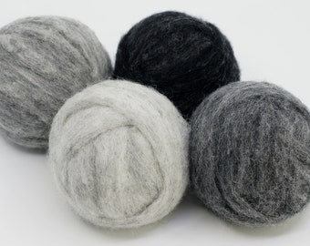 Stormy Night Carded Corriedale 4 Colors 4 Ounces for Needle Felting