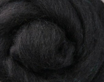 Corriedale Wool Roving Black Two Ounces for Felting and Spinning